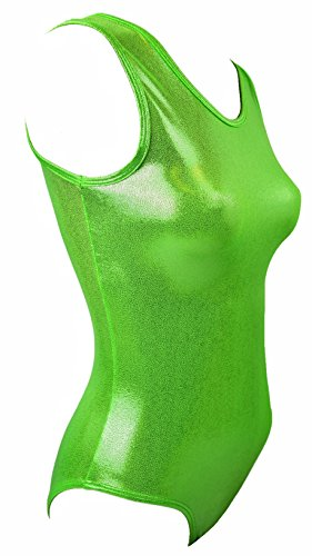 Sookie Active Metallic Sheen Classic Tank Leotard (Lime Mint, Ladies - Medium)