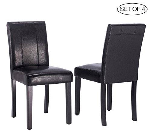 ZXBSWELE Set of 4 Leatherette Solid Wood Parson Chair for Dining Room, Living Room, Patio, Black