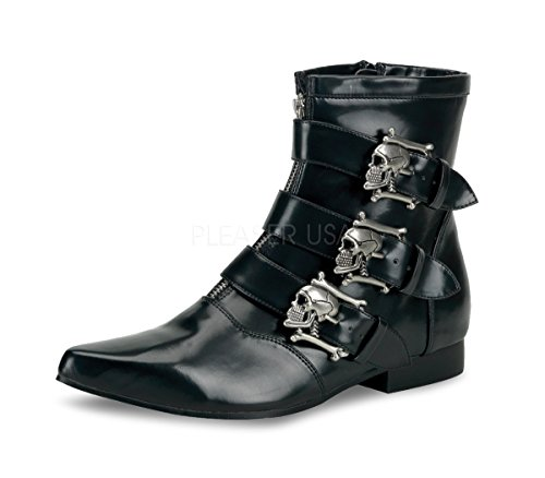 Pleaser BROGUE-06, Men Ankle Boot With Dirty Silver Skull Buckles Boots