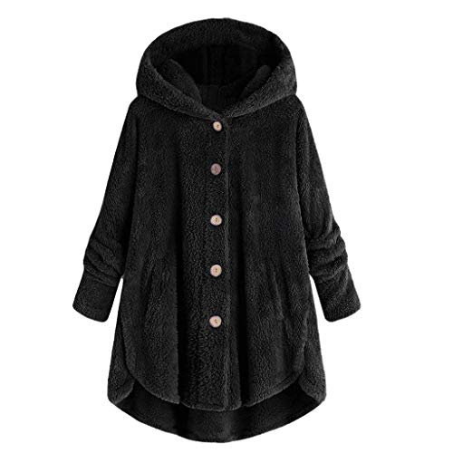 Womens Fleece Button Coat,Ladies Loose Winter Solid Button Pockets Fluffy Sweater Hooded Outwear Plus Size