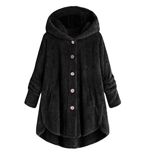 happyYE Women's Large Size Long Sleeve Pullover Coat, Ladies with Button Plush Tops Loose Cardigan Wool Coat Winter Jacket Sweatshirt Sweater Outwear