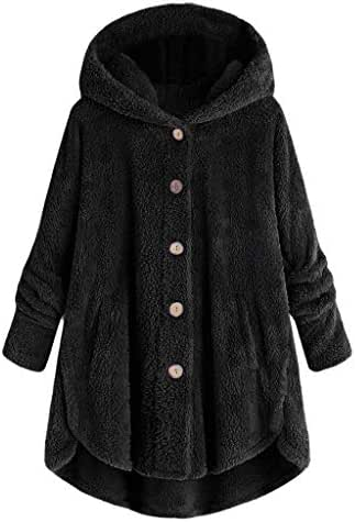 Sweatshirts for Women Hoodie Pullover Plus Size Button Plush Top Loose Cardigan Wool Coat Winter Casual Jacket