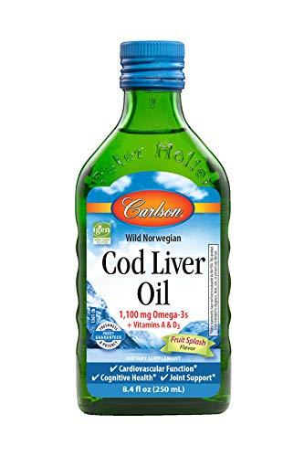 Carlson - Cod Liver Oil, Omega-3s EPA & DHA, Heart, Brain, Vision & Joint Health, Norwegian, Fruit Splash, 250 ml Carlson Norwegian Cod Liver Oil