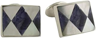 product image for David Donahue Mens Sterling Silver Rectangle Sodalite Mother of Pearl Cuff Links