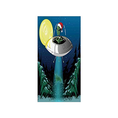 3D Decorative Film Privacy Window Film No Glue,Outer Space Decor,Alien with Santa Claus Hat Kidnaps Tree for Christmas Night Airship Print,Green Blue,for Home&Office