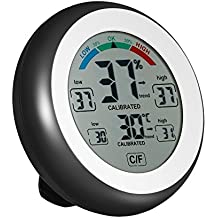 iBetterLife Hygrometer Thermometer, 2-in-1 Digital Temperature Humidity Gauge, Indoor Humidity Meter w/Large LCD Display, Touch Screen, MAX/MIN Records for Home, Car, Office, Greenhouse, Babyroom