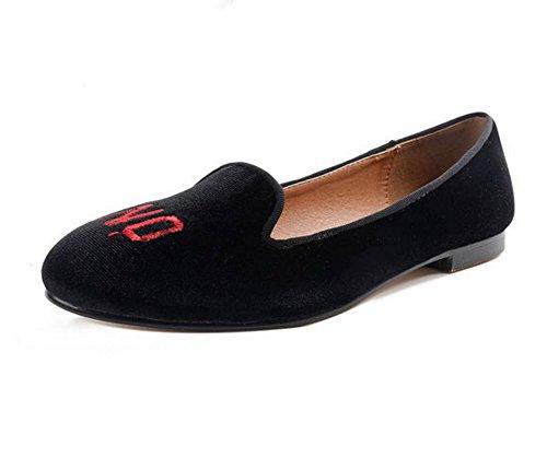 mujer low zapatos Negro planos redonda cuadrado Uppers Ladola ante cut punta tacones para 5wUxqxA