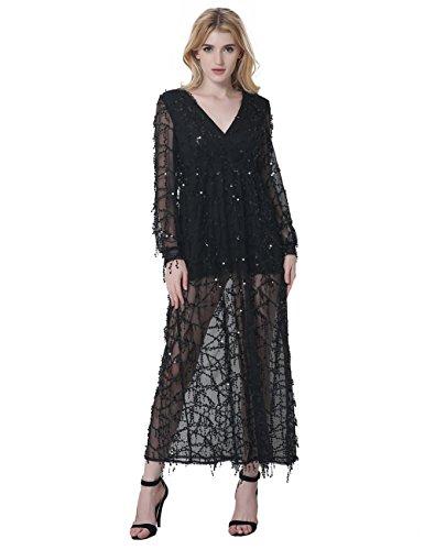 long black gauze dress - 1