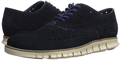 Cole Haan Men's Zerogrand Wing Ox Suede Oxford, Marine Blue Suede/Tahitian Tide/Ivory, 11 Medium US