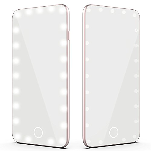 Frosted Glass Charger - Fawziya Vanity Mirror 23 Led Touch Pro Led Makeup Mirror With Charger Rose Gold