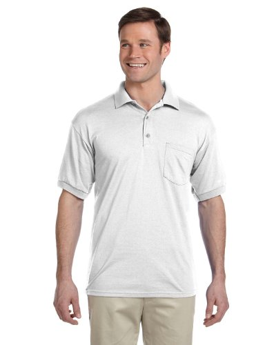 Gildan Men's Moisture Wicking Pocket Jersey Polo Shirt, White, Medium