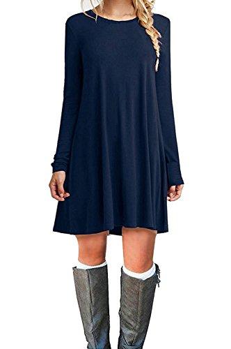 Manches Longues Femmes Molerani Casual Simple Simple T-shirt Robe Lâche Bleu Marine