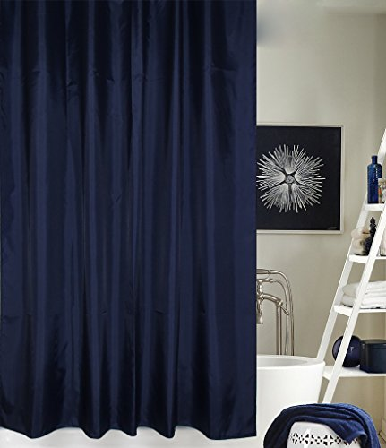 Eforcurtain Solid Hotel Shower Curtain, Waterproof and Mildew-Free Bathroom Curtain Fabric 54 By 78-Inch, Navy Blue (Navy Blue Fabric Shower Curtain)