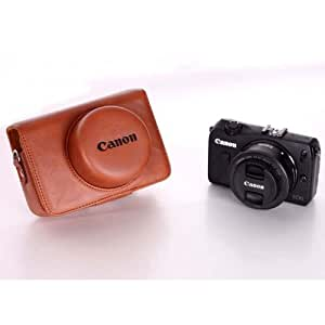 AST Camera Case / Cover Bag + Strap for Canon EOS M with 22mm 22 mm Lens Brown