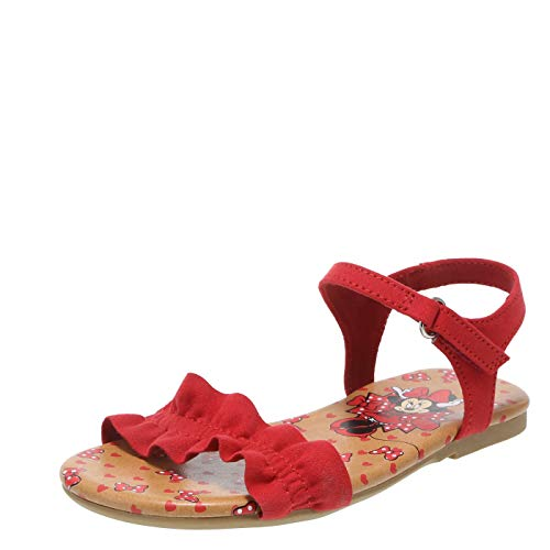 Minnie Mouse Bowtique Red Girls' Toddler Minnie Mouse Ruffle Sandal 5 Regular
