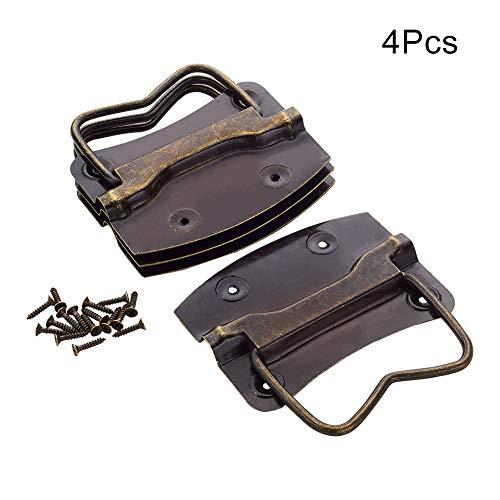 MroMax Wooden Case Chest Retro Style Puller Handles Bronze Tone 2pcs/4pcs