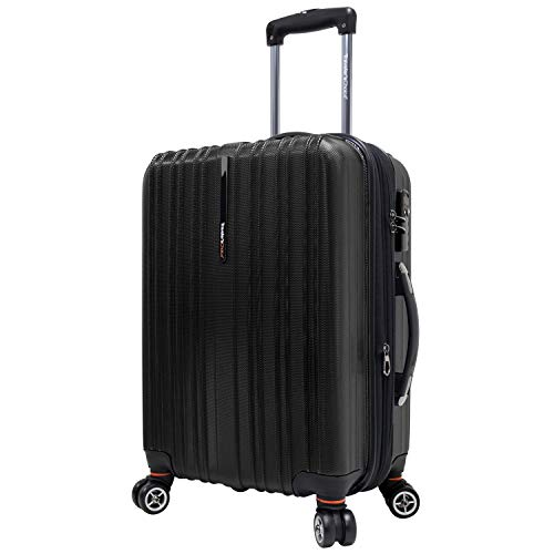 (Travelers Choice Tasmania 21 Inch Expandable Spinner Luggage, Black)