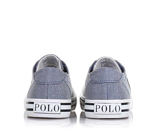 POLO RALPH LAUREN - Grauer Schuh mit Schnürsenkeln aus Stoff, weiße Schnürsenkel, auf der Zunge ein genähtes Logo, Jungen