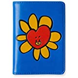 BT21 Flower Collection TATA Character Passport Holder Cover Wallet for Travel, Red/Blue