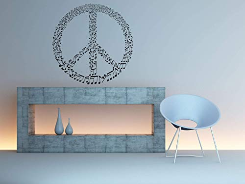 Vinyl Sticker Peace Symbol Music Notes Melody Pacifism Free Love Freedom Hippie Logo Sign Mural Decal Wall Art Decor SA2213