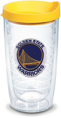 Tervis 1051625 NBA Golden State Warriors Primary Logo Tumbler with Emblem and Yellow Lid 16oz, Clear