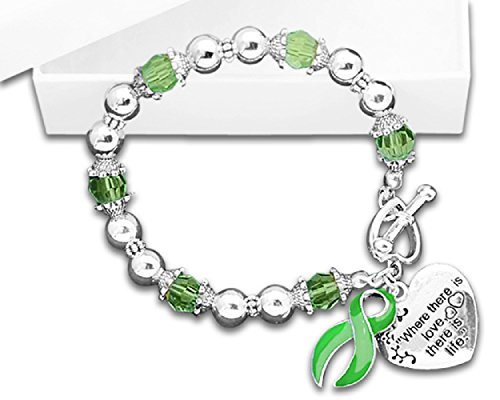Fundraising For A Cause Liver Cancer Awareness Where There is Love Heart and Ribbon Charm Green Beaded Bracelet with Gift Box (1 Bracelet - Retail)