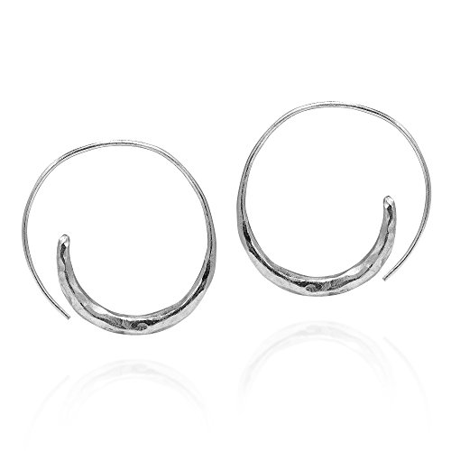 Tribal Hoop Coil Spiral Pierce Hammered Thai Hill Tribe Silver (Silver Hammered Style Earrings)