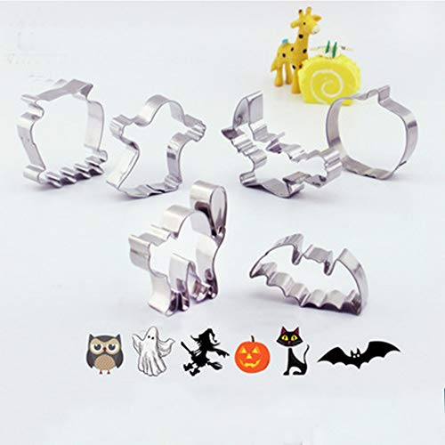 Halloween Cookie Cutters DIY Trick or Treat Metal Cookie Cutter Set Pumpkin, Bat, Ghost, Witch, Cat and Owl 6 Pcs -