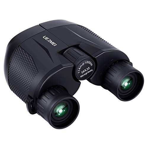 Compact Binoculars for Adults Kids, 10x25 High Power Binoculars with Low Light Night Vision for Bird Watching, Hunting, Hiking, Large Eyepiece High Power Waterproof and Lightweight