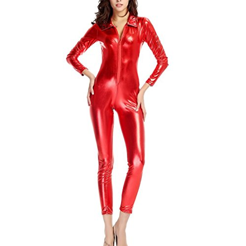 [Beauty Bloom Women's Wet Look Front Zipper Catsuit Costume, Red (Size M,US 6-10)] (Red Jumpsuit Costume)