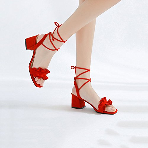 Mujer Único Pie Digno Tacones Red Zapatos De Vendaje Gamuza del Abierto Hilo Sandalias Altos Dedo Atractivo a4q8qUw5