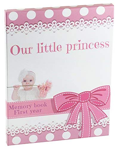 baby memory books for girls | Pink Keepsake Journal With 12 3D Magnetic Butterfly &15 Monthly Milestone Stickers ()