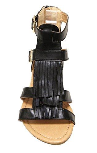 Anna Mavis-21 Orteil À Bout Ouvert Pour Femme Haut Double Boucle Cheville Bretelles Fermeture À Glissière Sandales Plates Noir