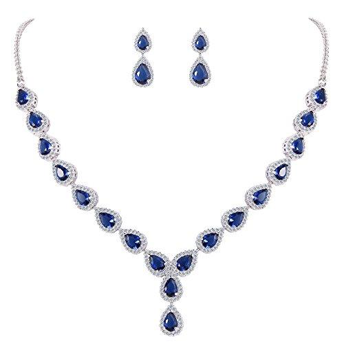 Set Gemstone Choker (BriLove Women's Wedding Bridal Teardrop CZ Infinity Figure 8 Y-Necklace Dangle Earrings Set Sapphire Color Silver-Tone September Birthstone)