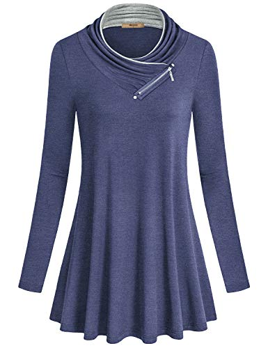 Turtleneck Flare (Miusey Womens Fashion,Ladies Fall Sweatshirts Long Sleeve Trapeze Plain Solid Color Cute Flowy Outfit Figure Flattering Turtle Neck Flare Shirts Blue XL)
