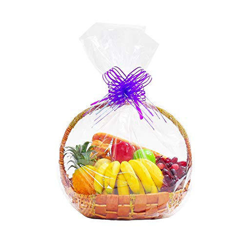 - Morepack Clear Cello/Cellophane Wrap Basket Bags Shrink Wrap Bags for Gift Baskets, 24x30inch (10Pack)