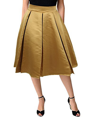 KASCLINO Skirts for Juniors, Women's Vintage High Waist Wool A-line Pleated Midi Skirt Gold L