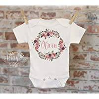 aaa68fac04 Flower Wreath Baby Name Personalized Onesie