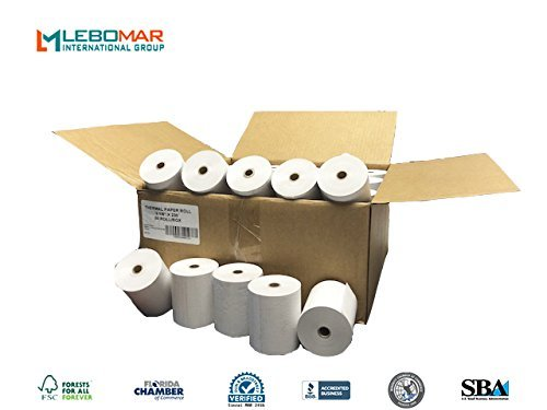 (Thermal Paper Rolls 3-1/8 x 230' (Box of 50 Rolls) For POS Receipts Printers & Cash Register White – # 1 Voted by Manufacturers and Retailers in ALL AMERICA by LEBOMAR INTERNATIONAL)