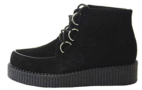 ShoeFashionista Womens Military Style Brown Lace Up Ladies Army Worker Ankle Boots Style 24 - Black