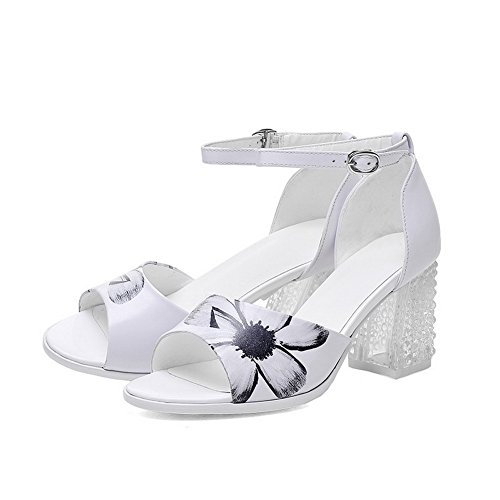 Allhqfashion Womens Öppna Rund Tå Ko Läder Polka-dots Sandaler Med Utskrift Vit
