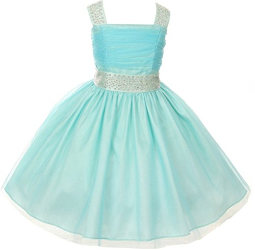 Big Girls' Adorable Shinny Studded Rhinestone Sleeveless Flower Girls Dresses Aqua Size 10 ()