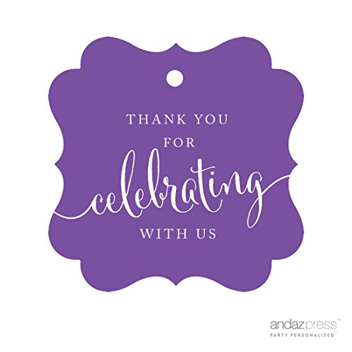 Andaz Press Fancy Frame Gift Tags, Thank You For Celebrating With Us, Purple, 24-Pack, For Baby Bridal Wedding Shower, Kids 1st Sweet 16 Quinceanera Birthdays, Anniversary, Graduation, Baptism, Christening, Confirmation, -