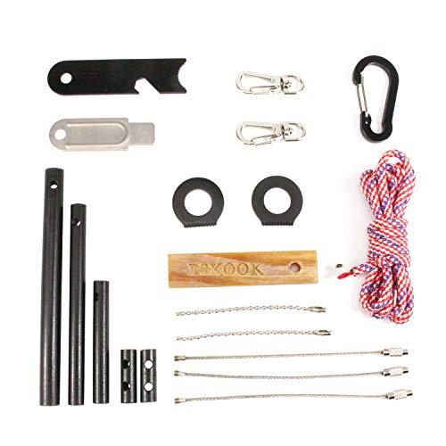 Bracelet Buckle Hook (PSKOOK Fire Starter Survival Tool Ferro Rod Flint Steel Kit Fatwood Tinder Paracord Key Hook Buckle Carabiner Stainless Steel Wire Rope Bead Chain Ball Chain DIY Survival Kit)