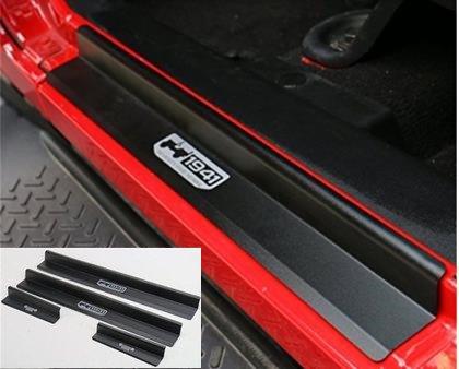 Rear Door Sill (Nicebee 4 pcs Black Aluminum alloy Front & Rear Door Sill Protector Scuff Plate Entry Guards For 2007-2016 Jeep Wrangler JK 4)