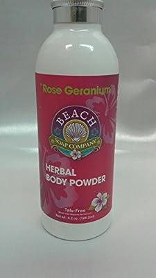 Talc Free Organic Body Powder, Rose Geranium Scent. Made and sold by Beach Organics. 4.2 oz.