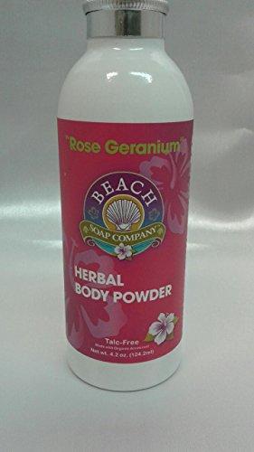 - Talc Free Organic Body Powder, Rose Geranium Scent. Made and sold by Beach Organics. 4.2 oz.