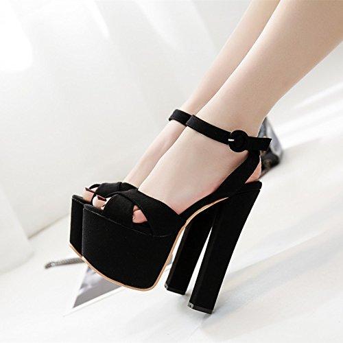 XiaoGao Grueso sandalias con plataforma negro fondo grueso t 17 cm Night club zapatos,Black