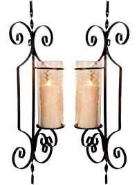 set of two decorative wall sconce candle holder pair elegant of swirling iron hanging wall candle