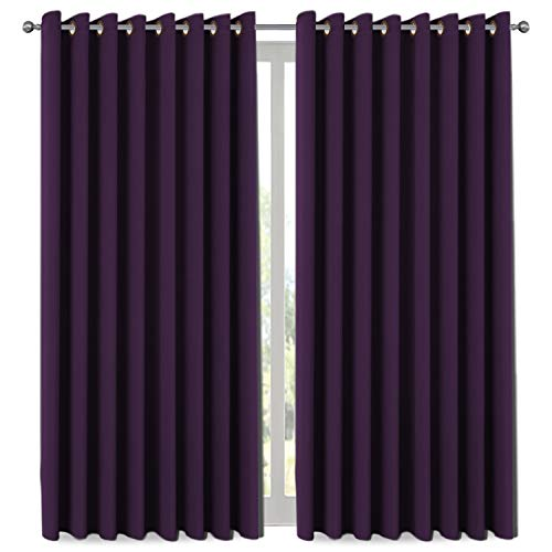 H.VERSAILTEX Premium Blackout Wider Curtains for Patio & Yard (100' W by 108' L), Thermal Insulated...